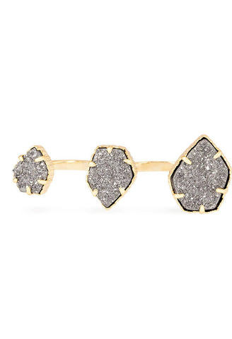 Naomi Double Ring in Gold Platinum Drusy
