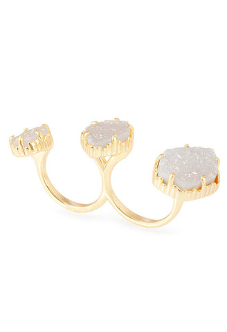 Naomi Double Ring in Gold Iridescent Drusy