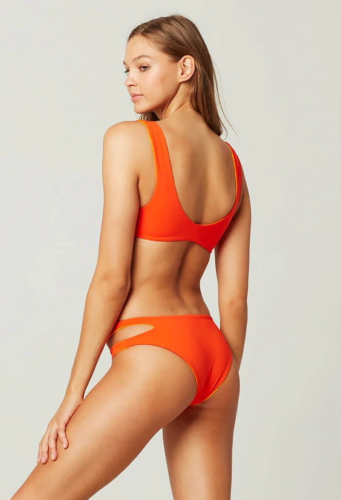 Breakers Reversible Bikini Bottom-Poppy & Mango