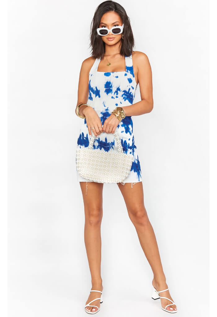 Duncan Halter Dress-Indigo Tie Dye