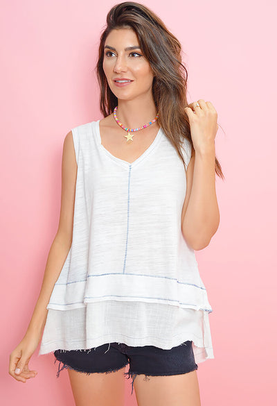 In a Stitch Tank - White