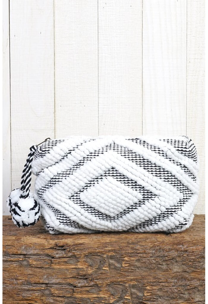 Diamond Makeup Bag-White/Black
