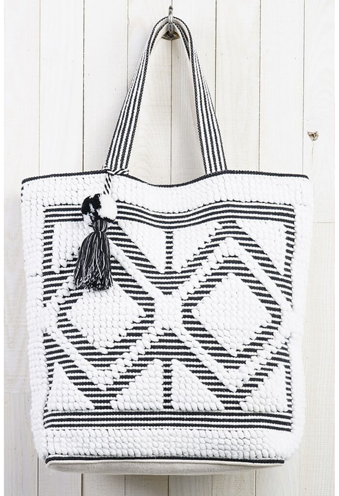 Double Diamond Picnic Tote-White/Black