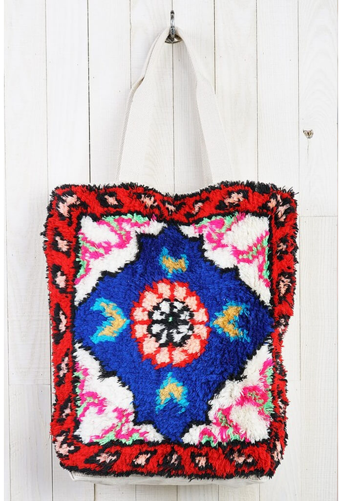 Fluff Tote Bag-Blue/Red