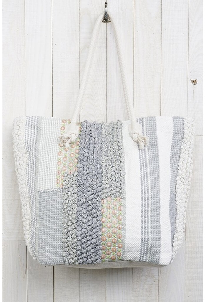 Handloomed Patchwork Tote-Mint