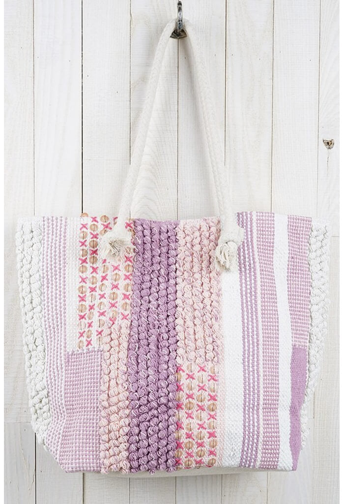 Handloomed Patchwork Tote-Lilac