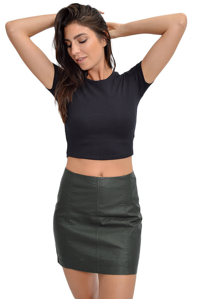 Free People Modern Femme Mini Skirt Forest Green-front