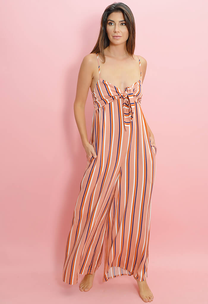 Just My Stripe Front Tie Jumpsuit