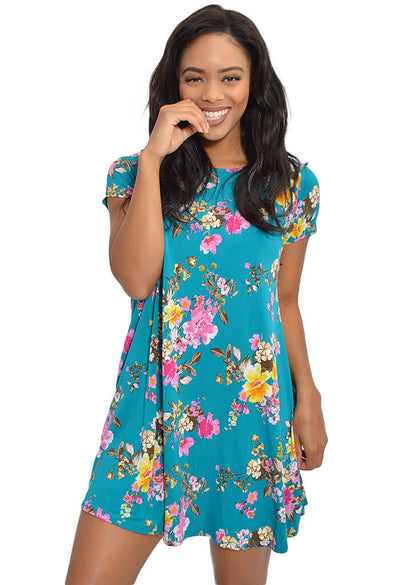 Peach Love Teal Floral Print Dress-front