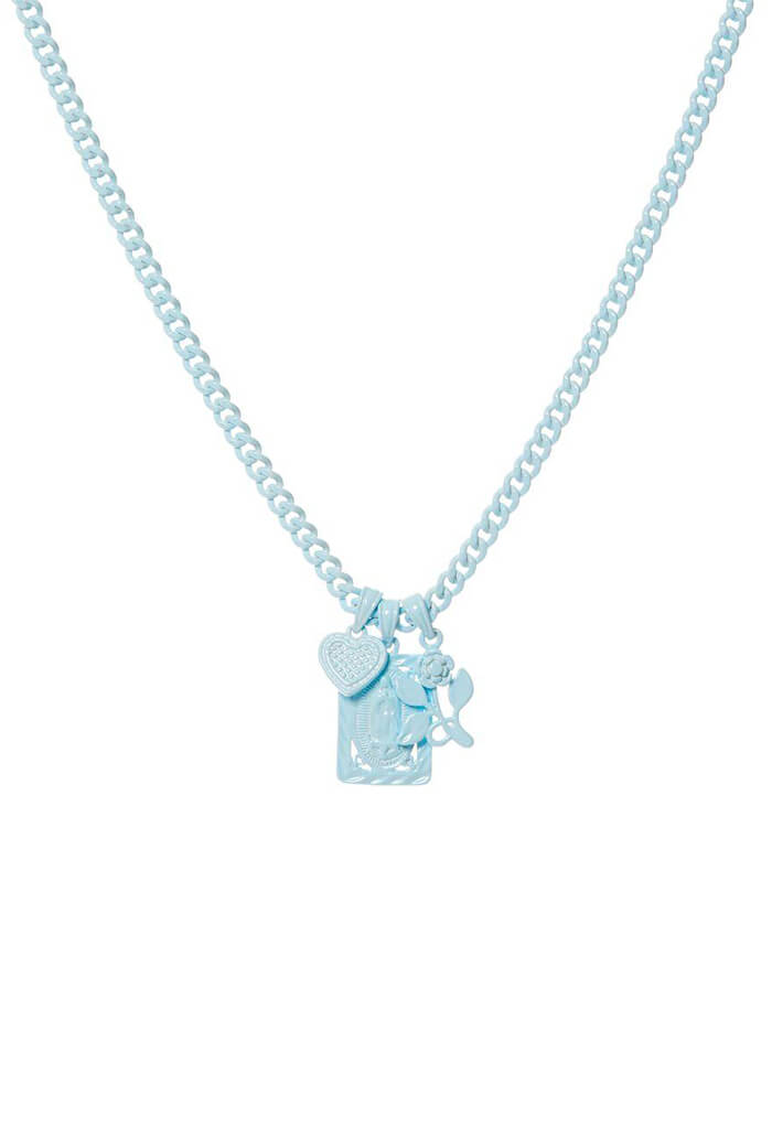 Rainbow Triple Charm Necklace- Baby Blue