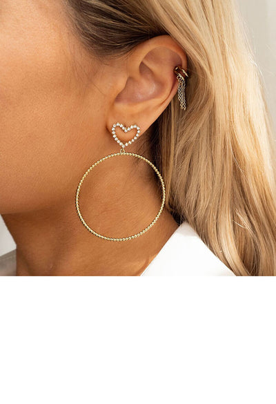Dotted Heart Hoops-Gold
