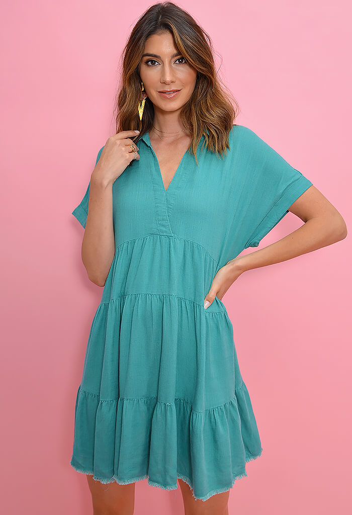 Oyster Roast Dress-Teal