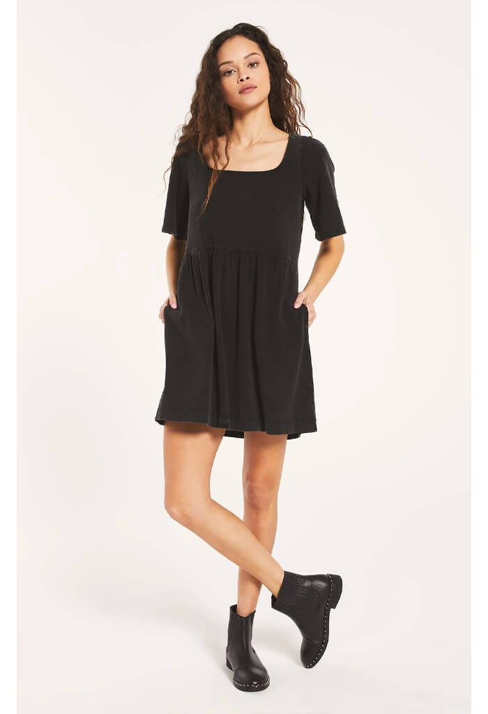 Prairie Jersey Dress-Black