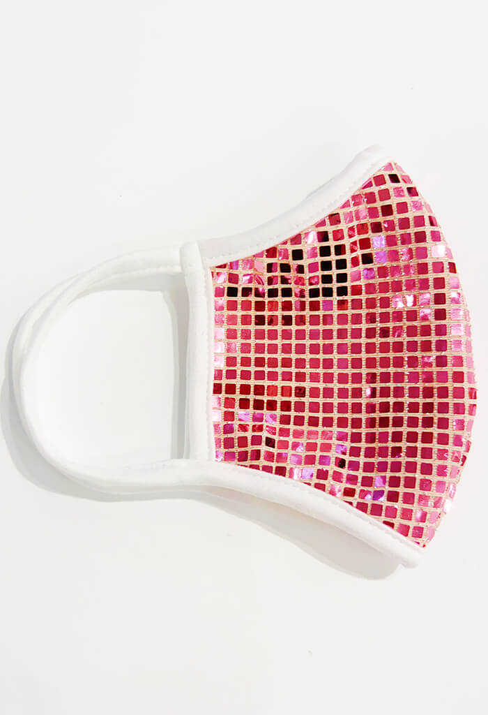 Square Bling Sequin Mask-Hot Pink
