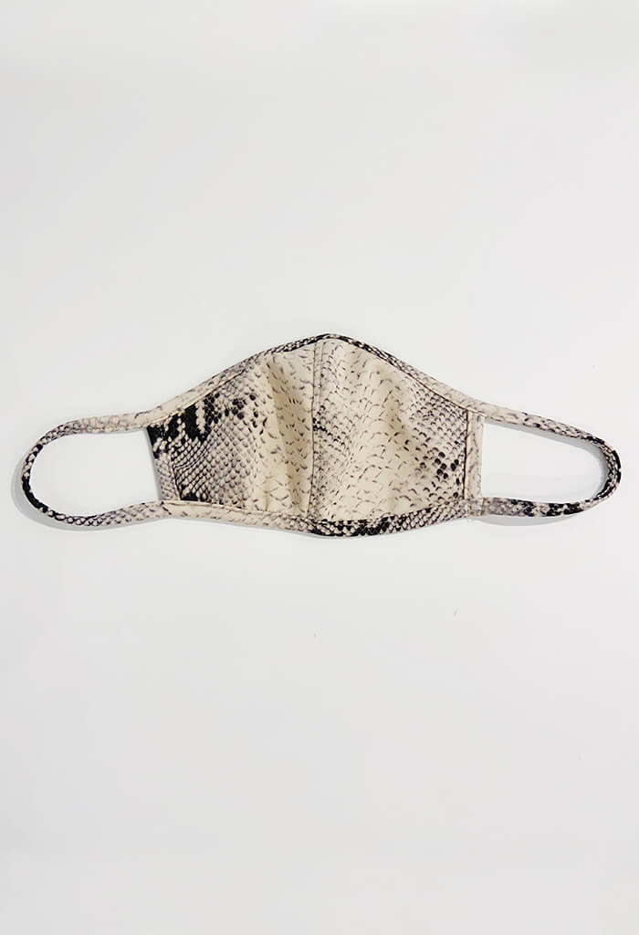 Grey Snakeskin Print Mask
