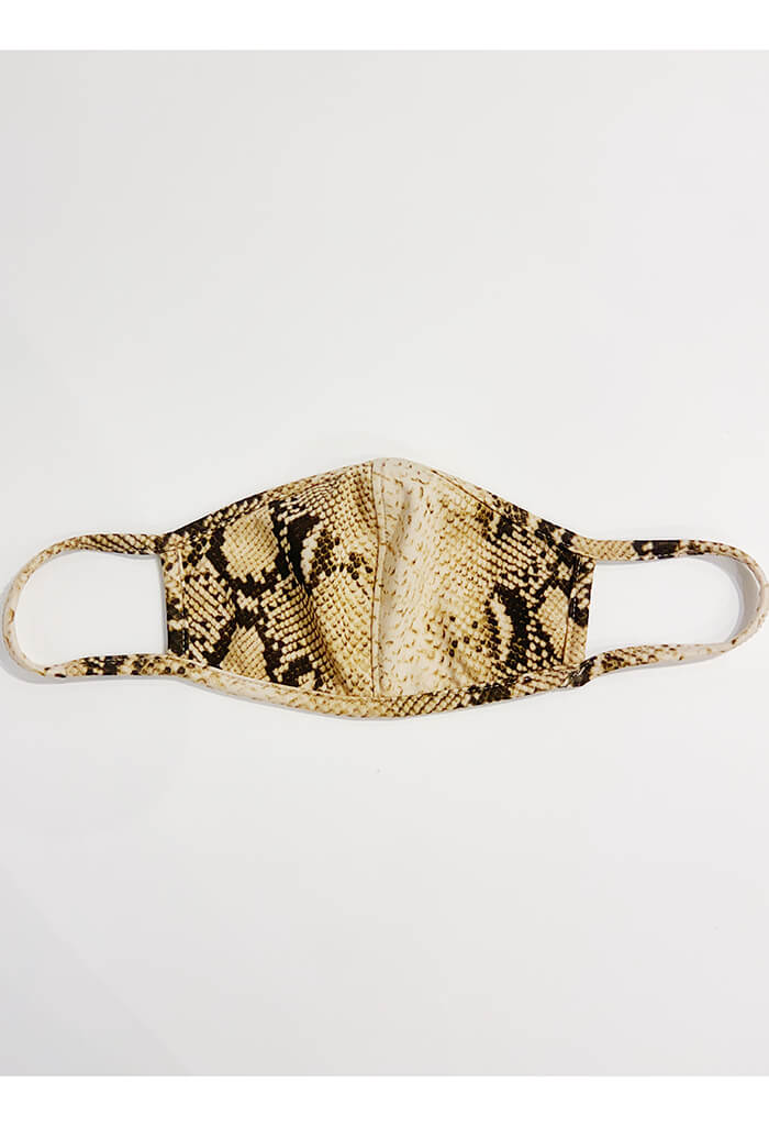 Taupe Snakeskin Print Mask