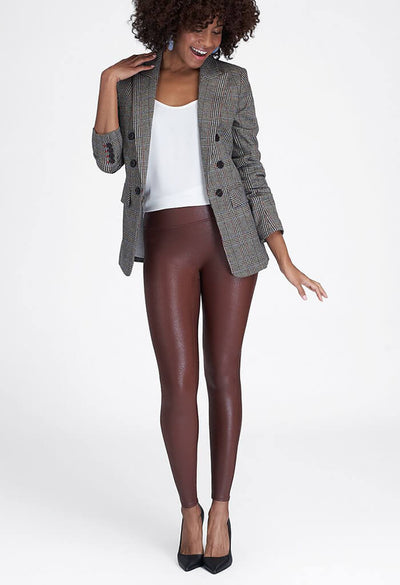 Faux Leather Leggings-Mahogany