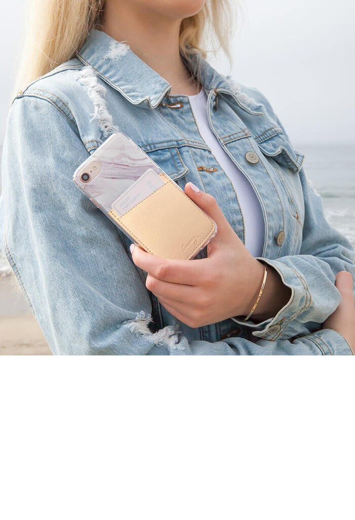 Phone Pocket-Beige Leather