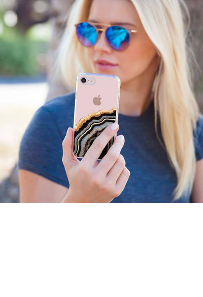 Black & Gold Agate iPhone Case