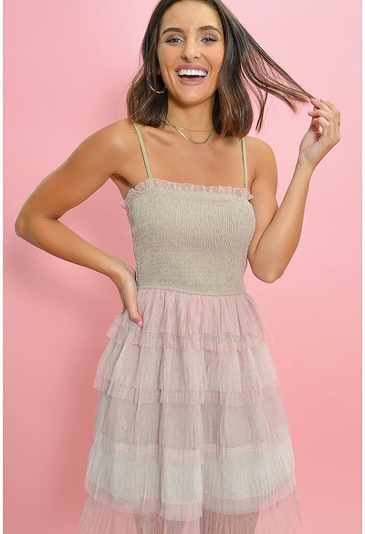Pillow Talk Mini Dress-Blush
