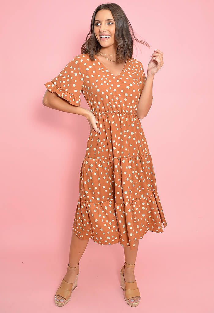 Lilian Midi Dress-Rust