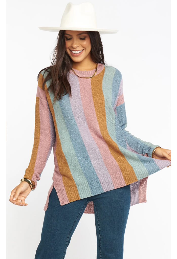 Elodie Sweater-Dusty Stripe Knit