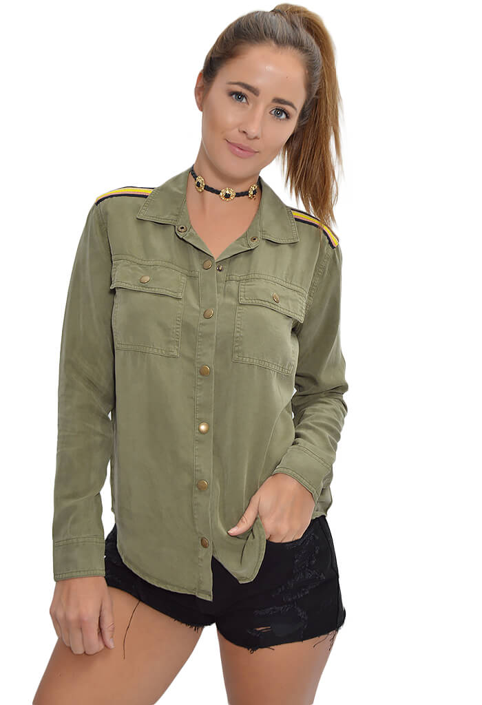 Splendid Military Button Down-front