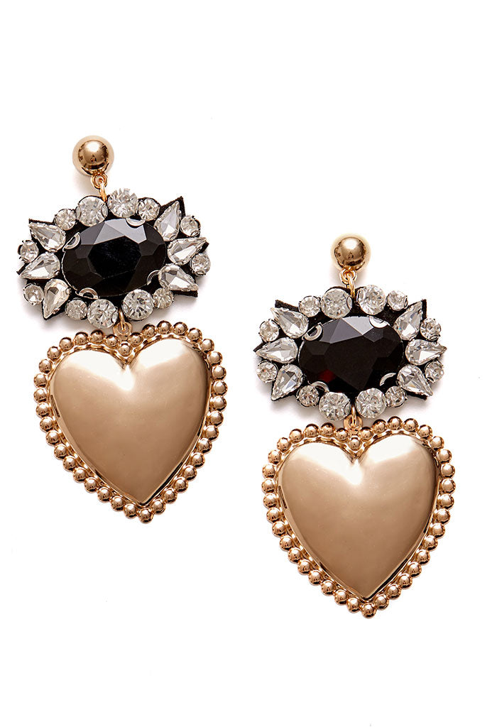Candy Heart Earrings-Black