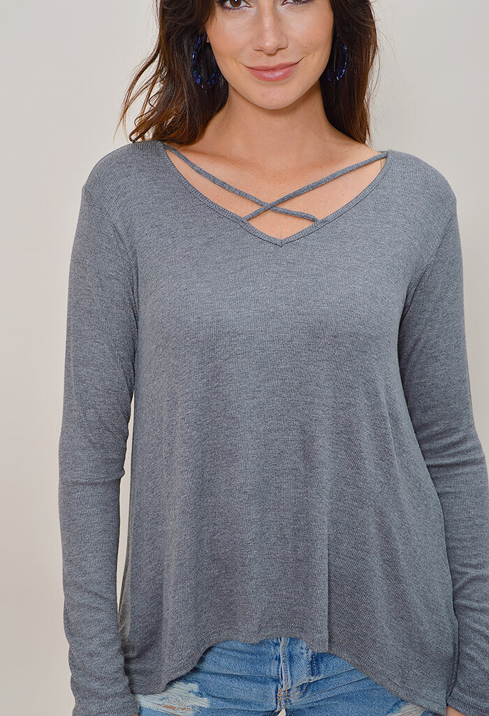 Apple Jax Top - Heather Grey