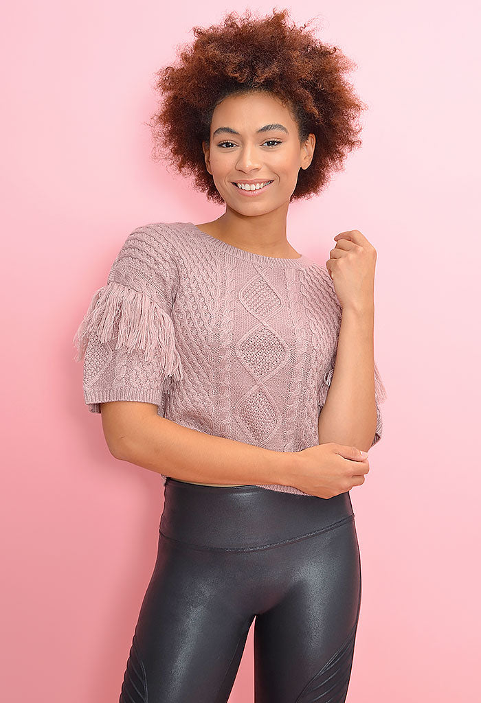 Fringe Out Top-Rose Quartz