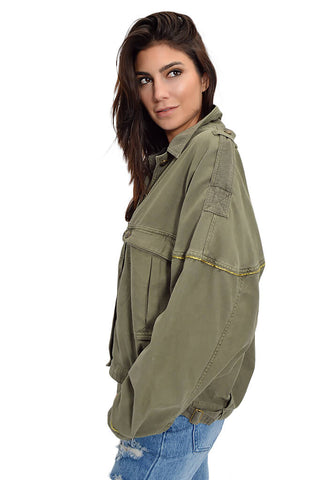 Slouchy Military Jacket - Forest