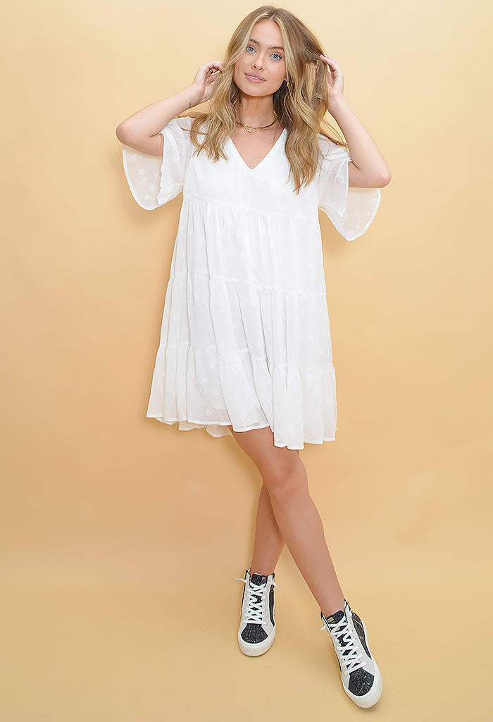 She's a Star Mini Dress-Cream