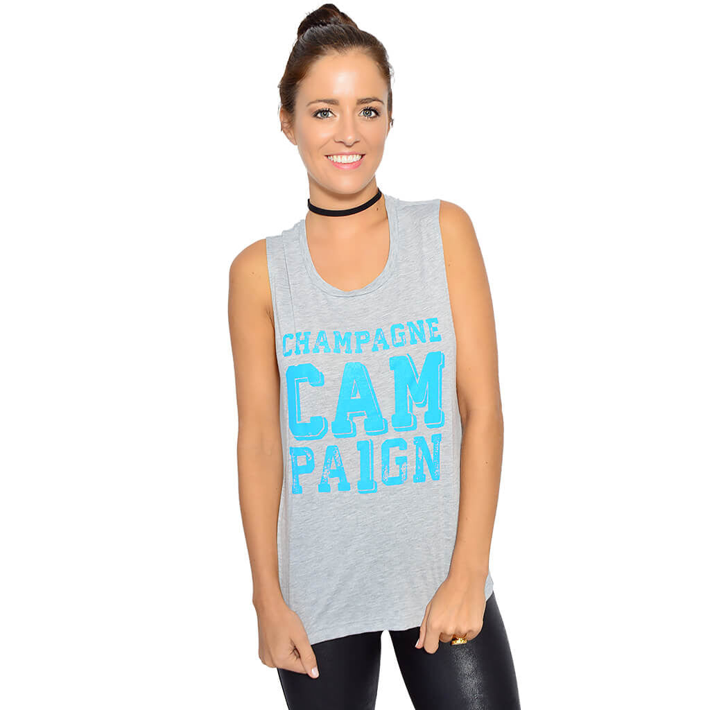 Pink Social Champagne Campaign Tank-front