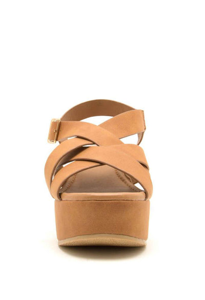 Logan Camel Wedge Sandals