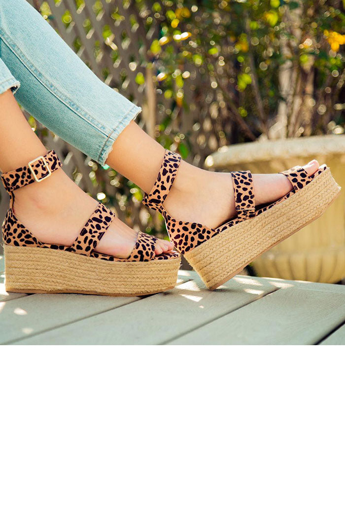 Bigbang Tan Leopard Wedges