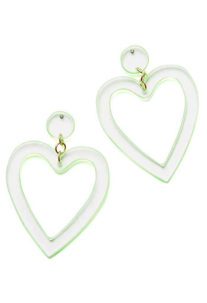 Neon Acrylic Heart Earrings-Green
