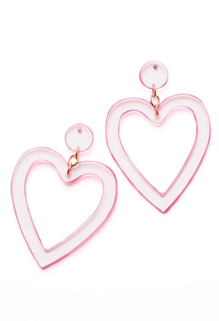 Neon Acrylic Heart Earrings-Pink