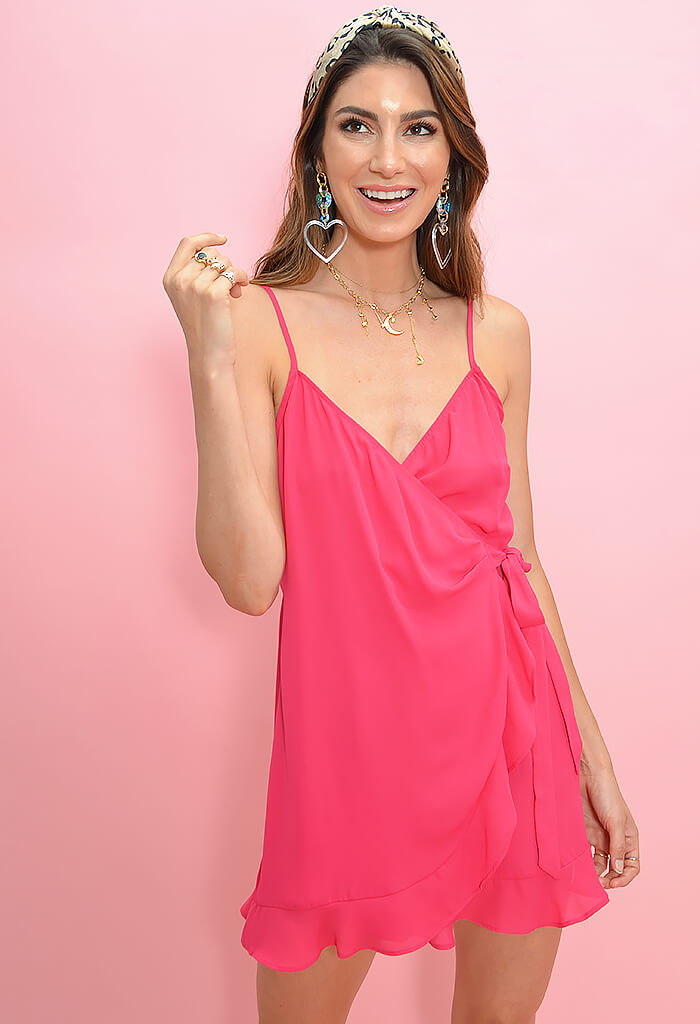 Say Jay Ruffle Dress-Pink Punch