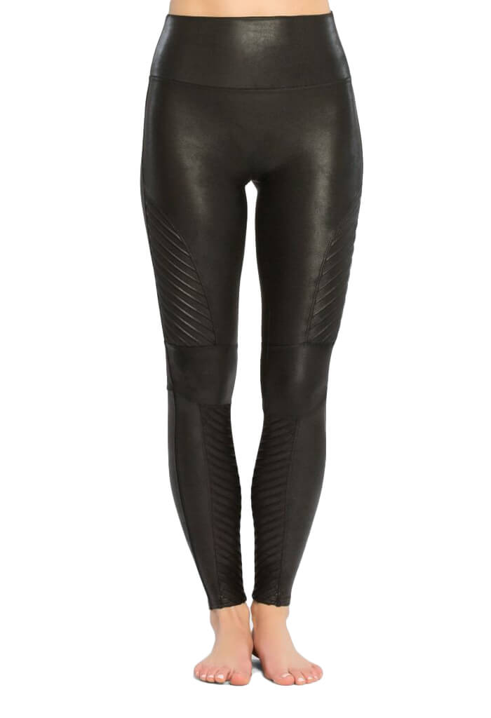 Spanx Black Faux Leather Moto Leggings-front
