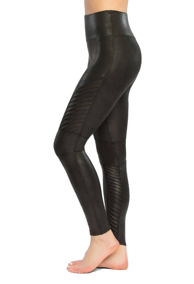 Spanx Black Faux Leather Moto Leggings-side