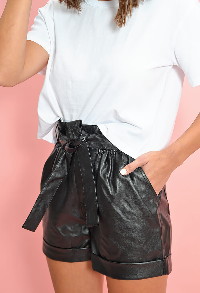 Minkpink black faux leather shorts-front