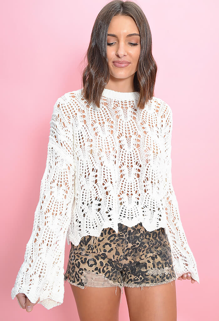 Minkpink white bell sleeve knit sweater-front