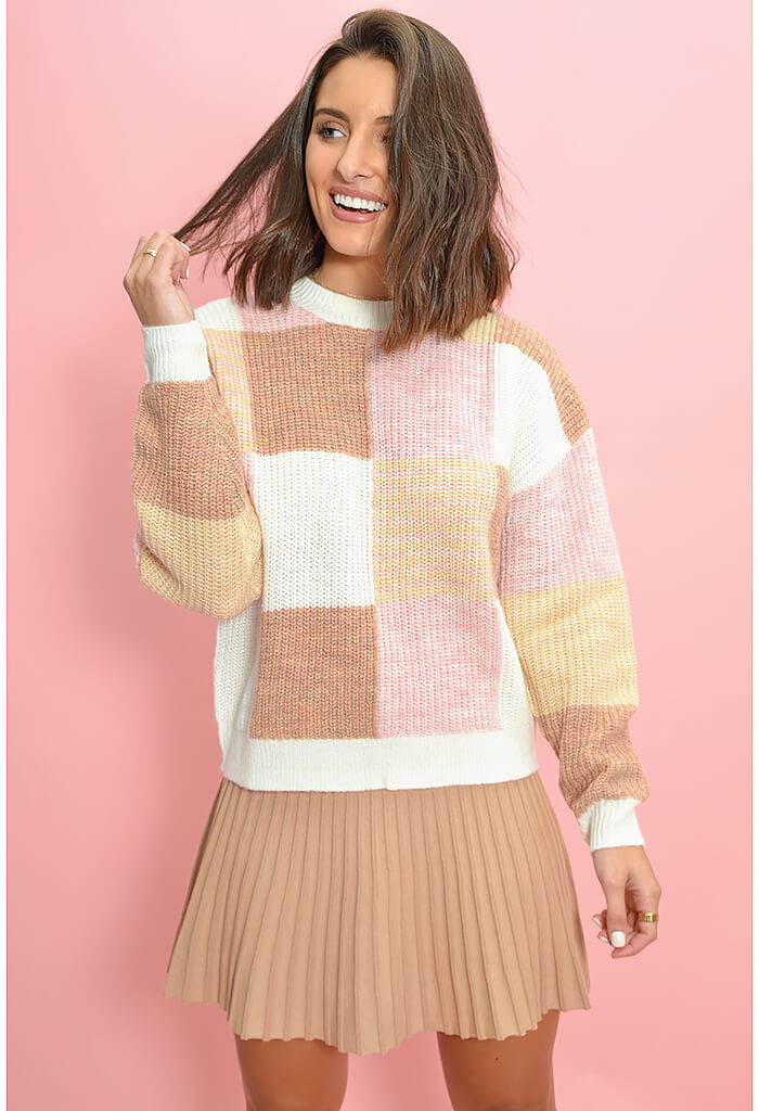 Minkpink Block Pattern Knit Sweater-1