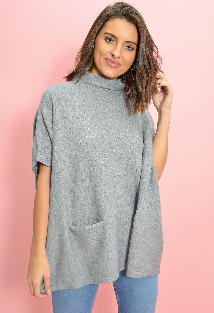 KK Bloom Boutique Oversized Grey Poncho