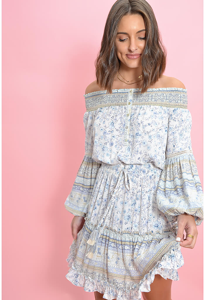 KK Bloom Floral Print Off Shoulder Mini Dress