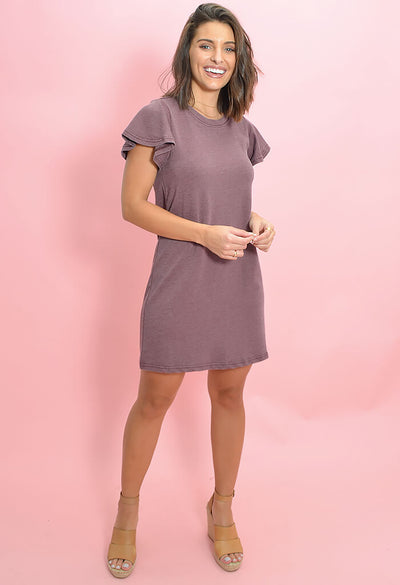 Z Supply Farren Tee Dress Merlot-full length