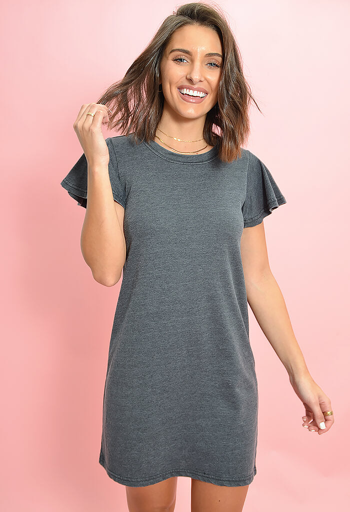Z Supply Farren Tee Dress in Black-front