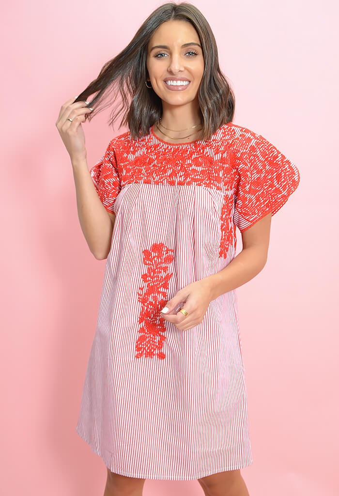 Buddy Love Alessandra Embroidered Mini Dress-front