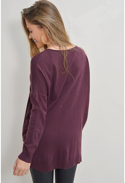 Feather Sweater - Plum