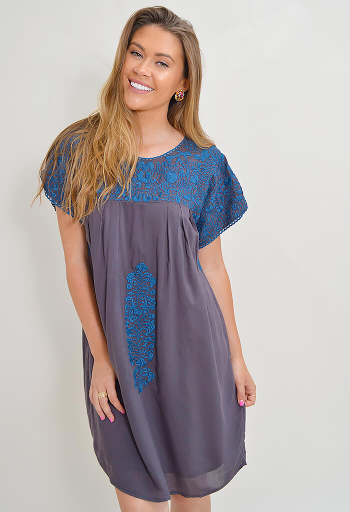 Carolina Embroidered Dress - Grey